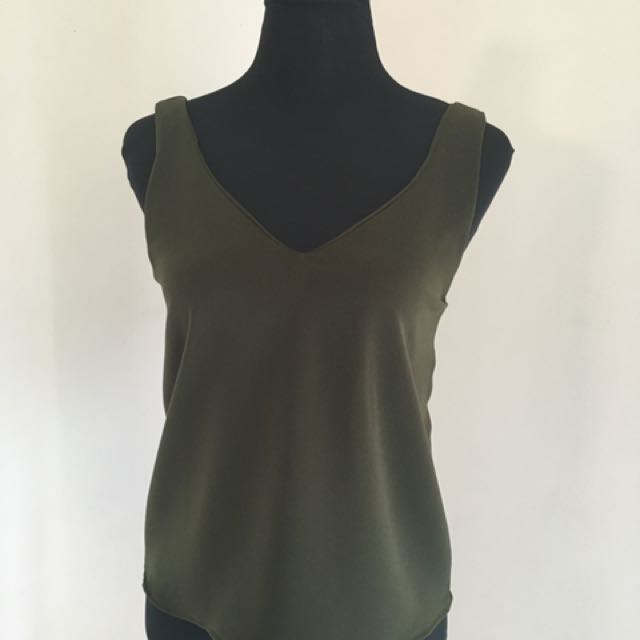 Miss Halfway Essential Olive Green Tank Top