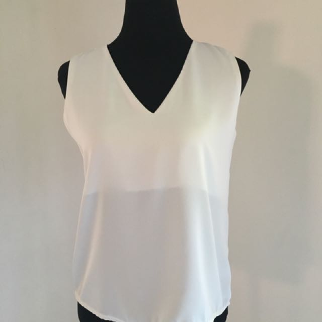 Miss Halfway Essential V Neck Satin Top in White