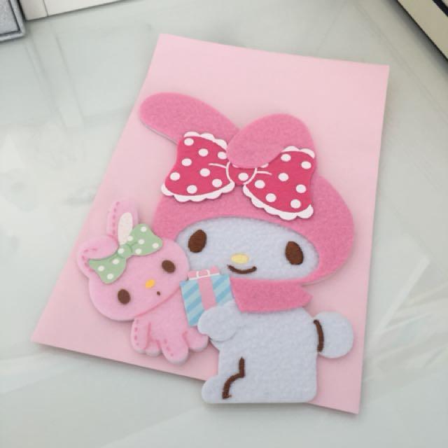 My Melody Fluffy Birthday Card Carousell