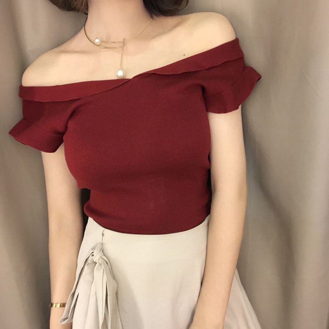 new knitted wine red off shoulder top