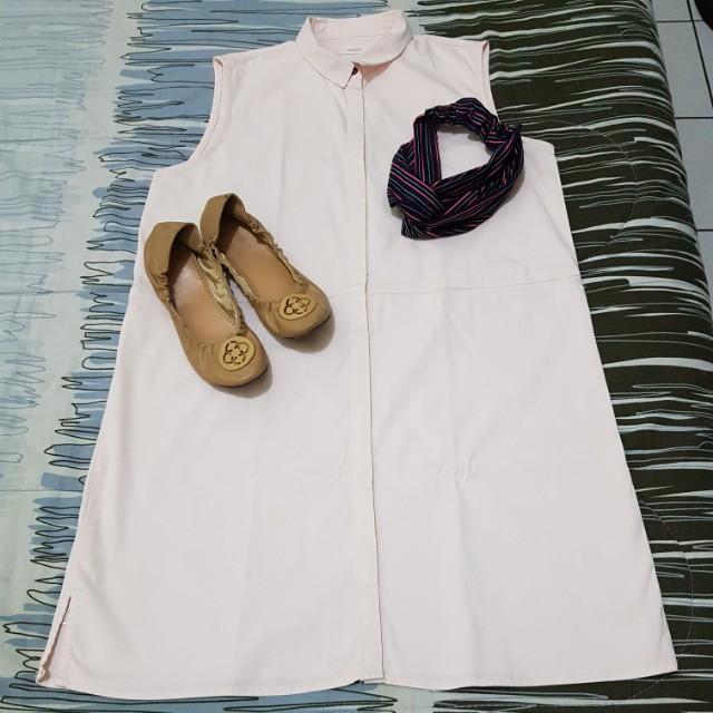 OOTD Set [Mango Buttoned down dress + Hair Turban + Flats]