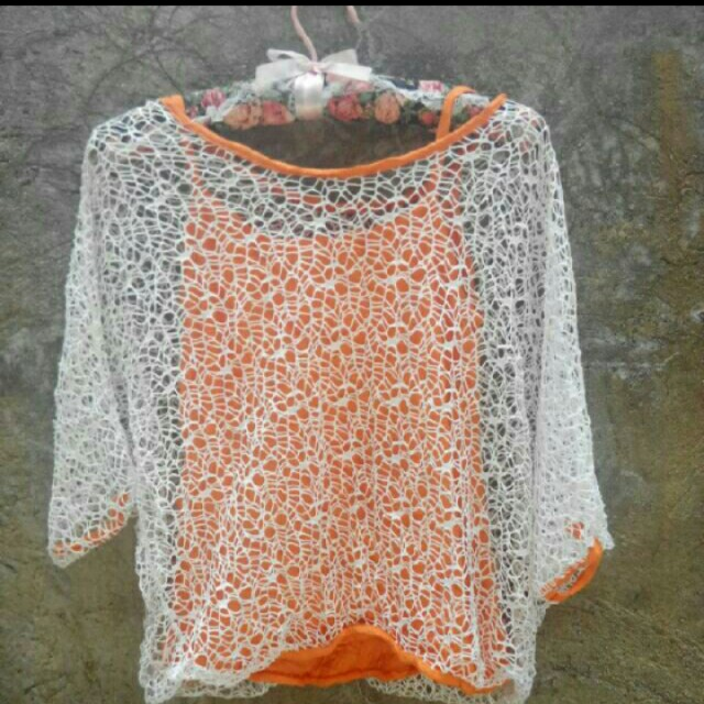 Orange crochet cover-up