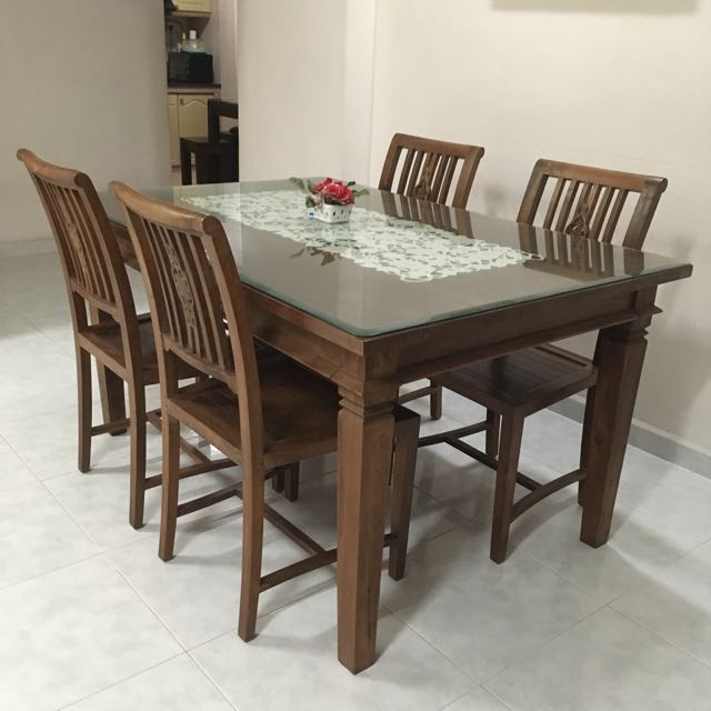 Original Teak Wood Dining Table With 4 Chairs Furniture Tables