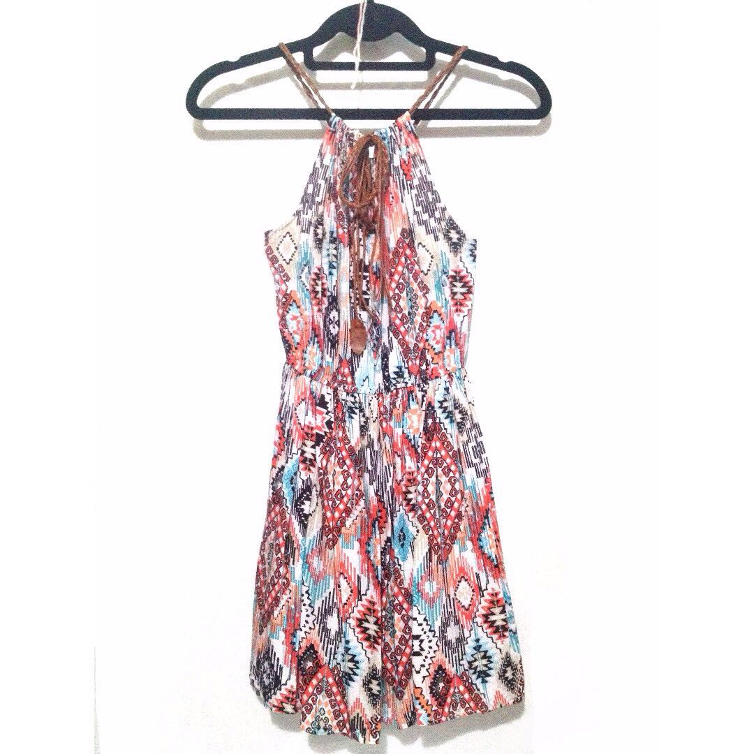 Patterned Halter Dress