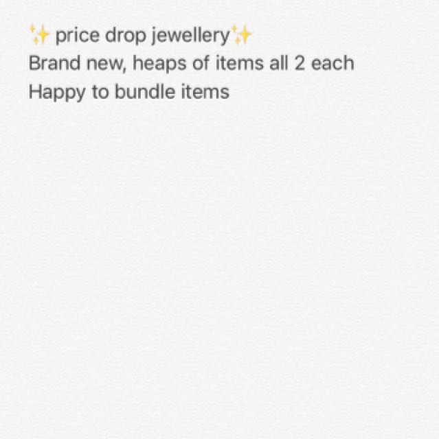 Price drop on all jewellery 🙌