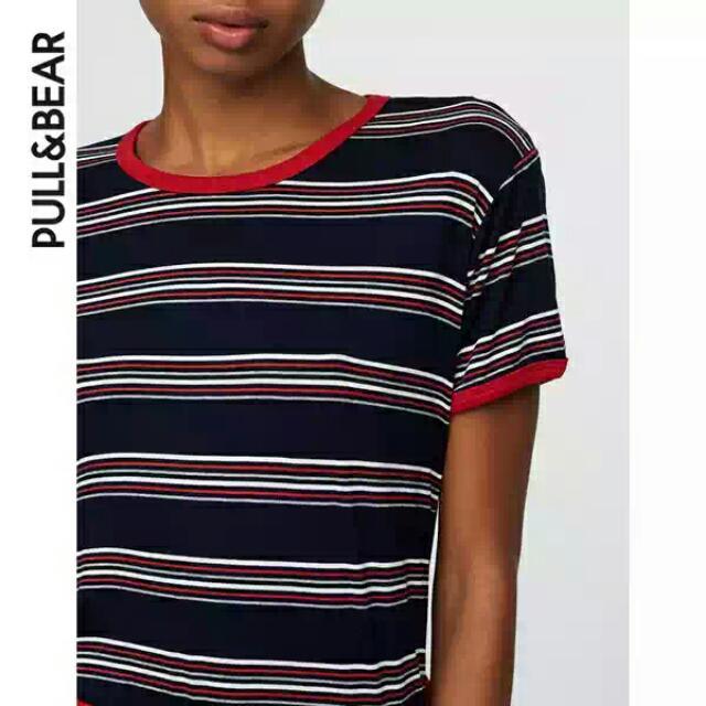 (二手)PullAndBear紅藍條紋撞色滾邊高彈性舒適t恤