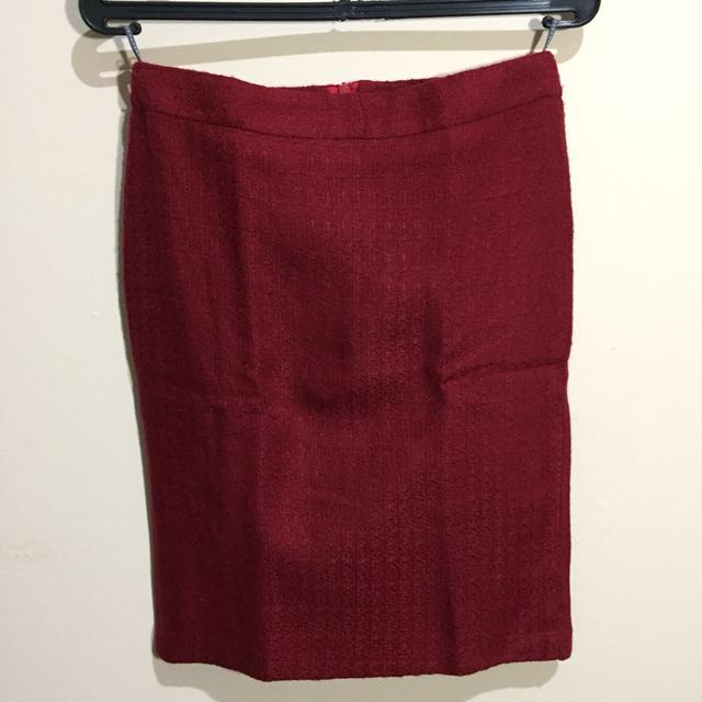 Red Tweed Skirt