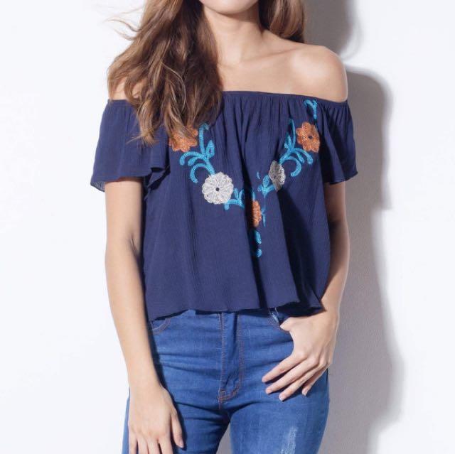 Shop Copper Navy Blue Floral Off Shoulder Top