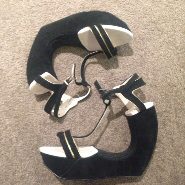Shubar Black And Gold Cut Out Heels