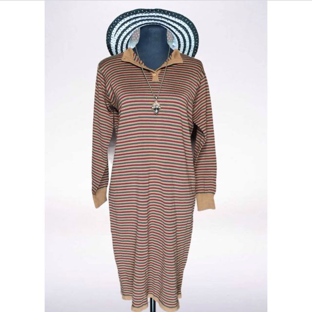 Stripes Collared Knit Dress