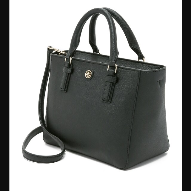 2fcf35902a8d Tory Burch Robinson Mini Square Tote Black Lady Bag
