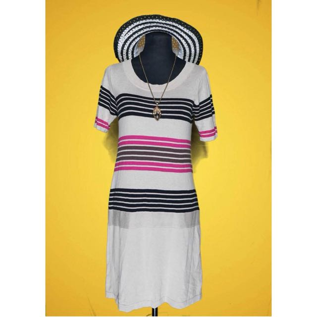 Tri-color Stripes Knit Dress