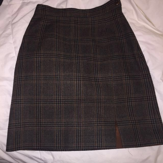 tristan & iseut wool plaid skirt