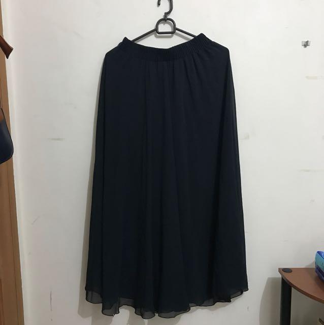 Tulle black long skirt