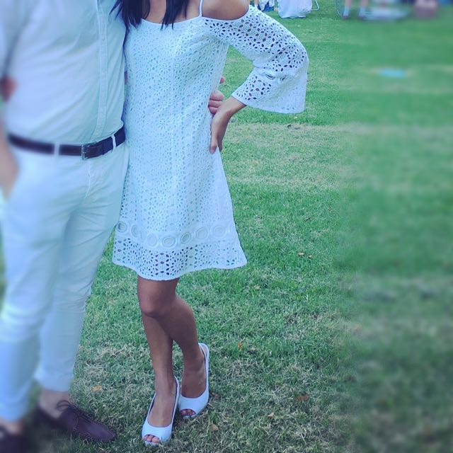 White Lace Dress Bell Sleeves Size 6