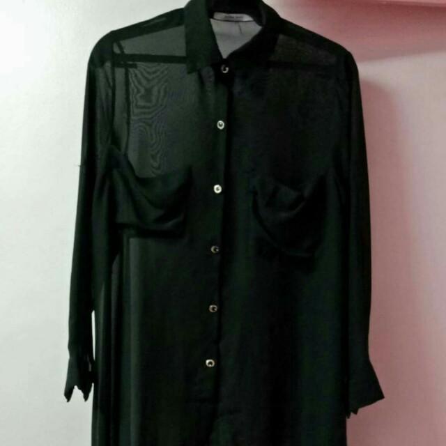Zara Black Polo Longsleeves