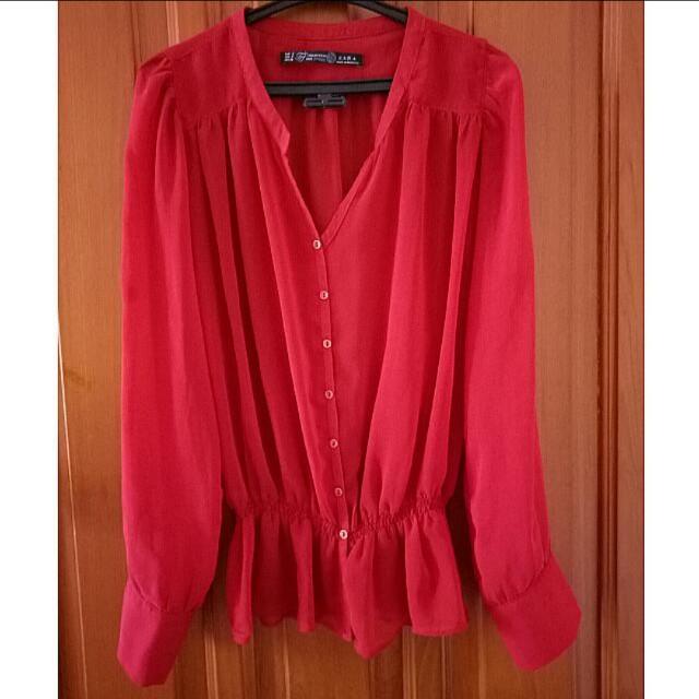 Zara Red Blouse