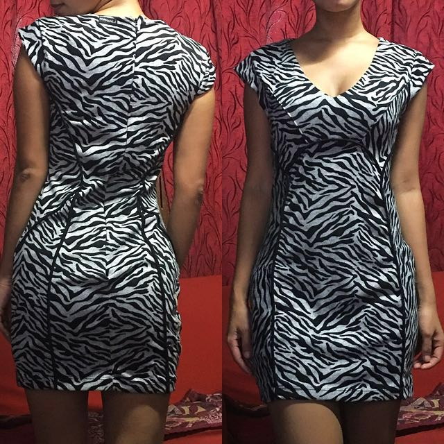 Zebra Print Fitted Dress