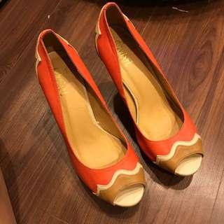 🚚 韓版拼接跟鞋魚口鞋 內裡真皮 36