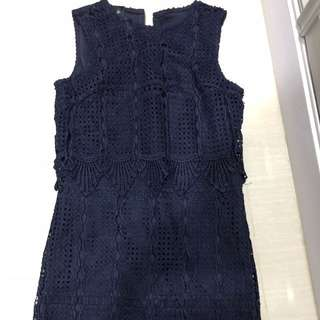 """Clearance"" The Stage Walk Navy blue lace dress"