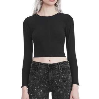 Monki Ribbed Crop Top in Black
