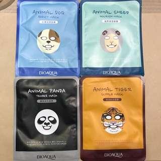 4 Pack BioAqua Animal Facial Masks