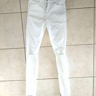 TOPSHOP - White Mid-Waist Jeans