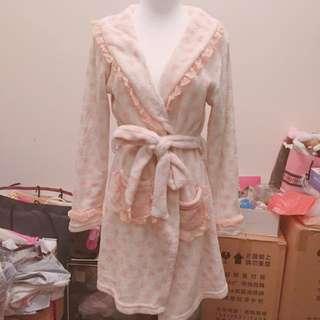 愛心蕾絲毛巾布浴袍 睡衣