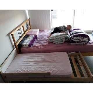 Kids bedframe and mattress set, with 2 mattress covers