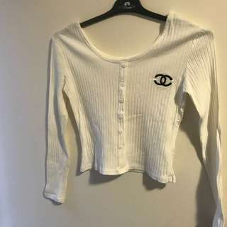 Chanel Ribbed White Top