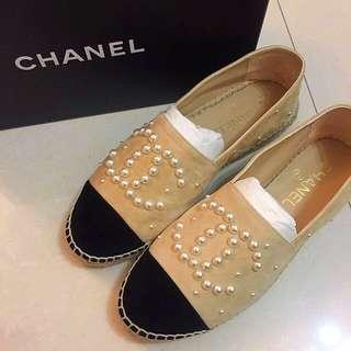 CHANEL Espadrilles 孖C logo 珍珠麂皮鉛筆鞋