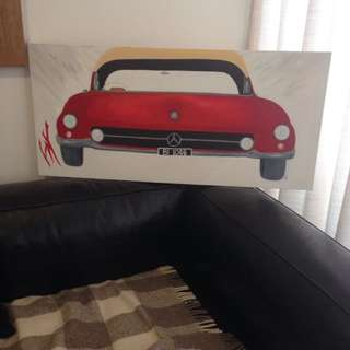 Acrylic on canvas. Vintage Mercedes 190sl .1959 model .perfect for the boys bedroom 👍🏻