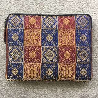 Unique, handmade Ikat fabric laptop case