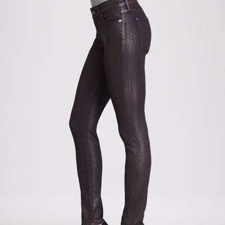 7 For All Mankind Skinny Crocprint Coated Jeans