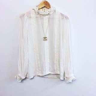 全新)正韓白色蕾絲上衣
