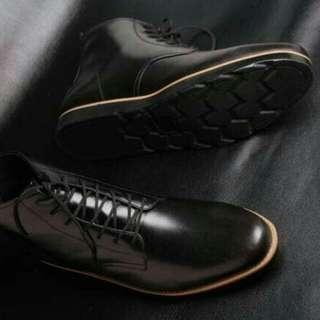 Sepatu boot pria sepatu kulit asli sepatu pantofel Boston sparta