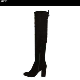 Size 9 Black Thigh High Heeled Boots