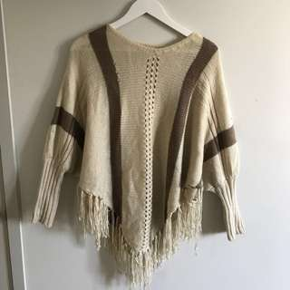Super soft cream poncho with sleeves