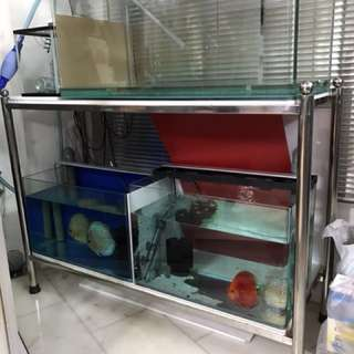4ft fish tank STAINLESS STEEL Stand (L130 x W47 x H98)cm for sale (location Bukit Batok 650524)