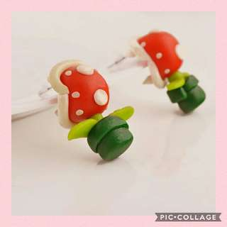 EATING MOSTER PLANT KAWAII CLAY STUD EARRINGS