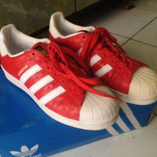 Adidas super star animal red