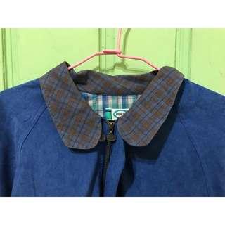 [孬便宜]古著復古格紋領蝙蝠袖寬鬆泡泡袖oversize外套