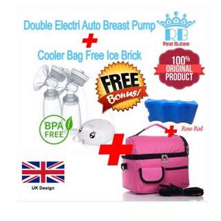 REAL BUBEE ELECTRIC AUTO DOUBLE PUMP / BREASTPUMP +COOLER BAG FREE ICE BRICK SET