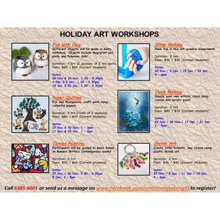 Holiday art workshops / camps / programs for kids and adults - Clay / slime / clock making / paper quilling / canvas painting / shrink art
