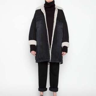 *OAK & FORT* (OS) G72 charcoal denim shearing down jacket