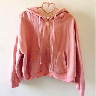 ♡粉紅刷毛短版外套♡