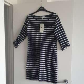 Navy striped dress.