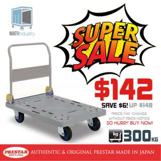 (SOLD-OUT) REDUCED PRICE! PRESTAR (Made in Japan) 300kg Trolley Plastic Base Heavy Duty HAND TRUCK (Blue Only)