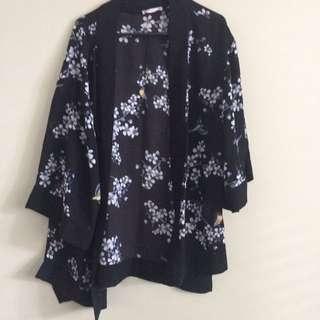 Black floral kimono-style shrug