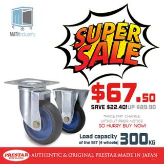 "SUPER SALE! PRESTAR (Made in Japan) 130mm or 5"" Swivel & Rigid Set Trolley Spare Castor Wheel"